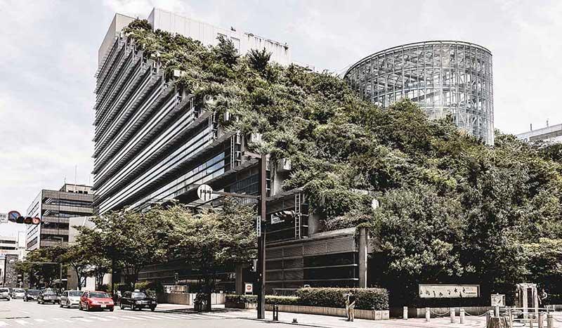 Blick auf die Gartenterassen auf der Rückseite des Acros Fukuoka Gebäudes in Japan.