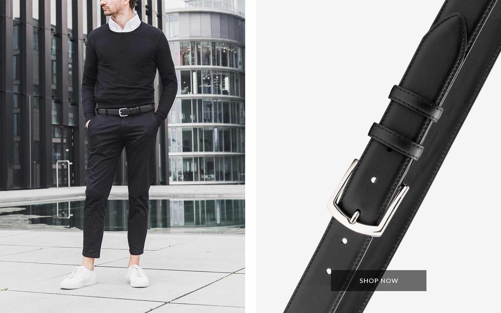 Roberto klassischer Ledergürtel schwarz