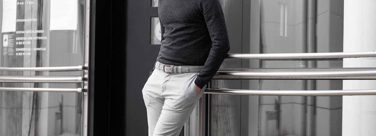 Umberto classic suede leather belt grey