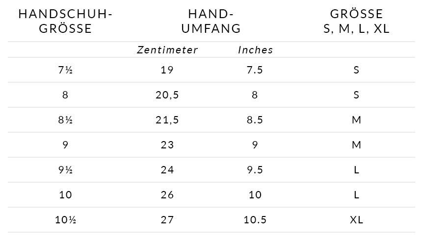 Größentabelle Handschuhe Herren