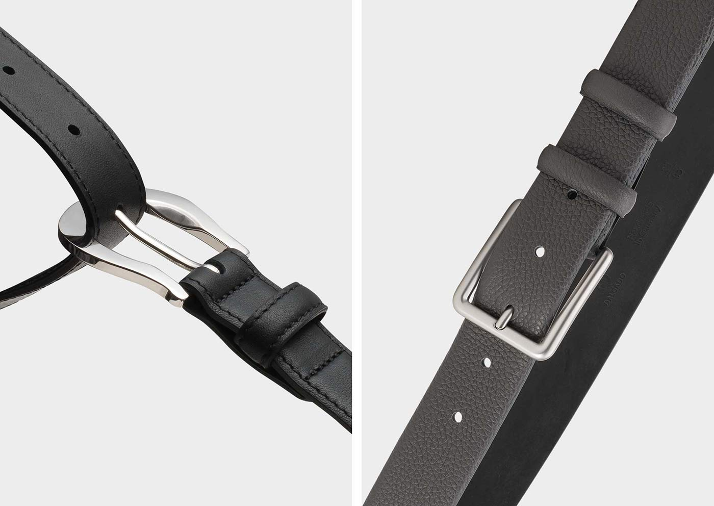 Left classic women's belt black and right classic men's belt grey