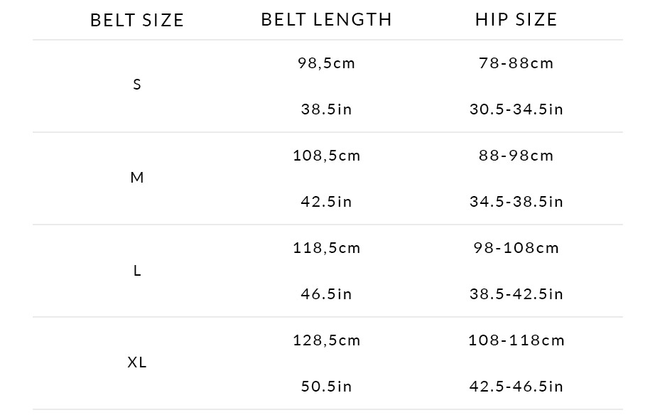Sizing Chart Braided Belts