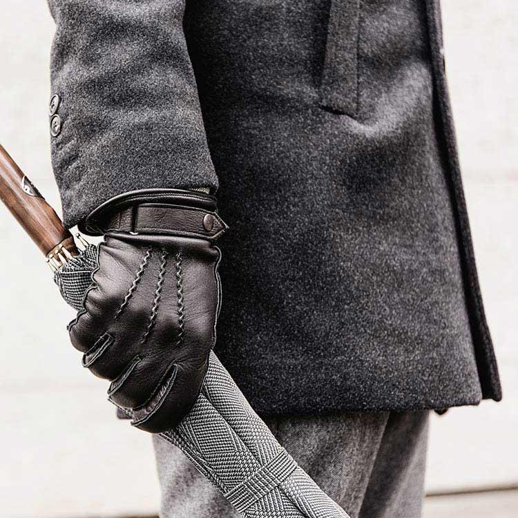 Schwarzer Hirschleder Handschuh
