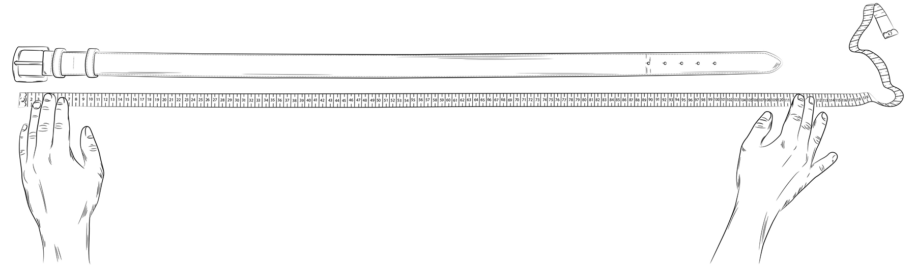 Illustration wie die Gürtelgröße anhand eines alten Gürtels bestimmt werden kann.