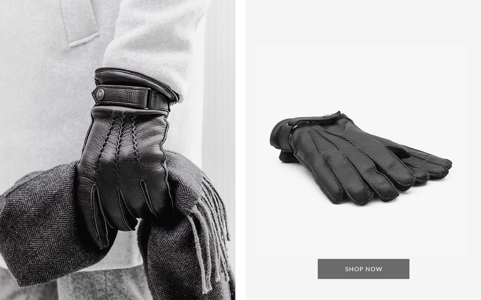 Alessio Hirschleder Handschuh schwarz