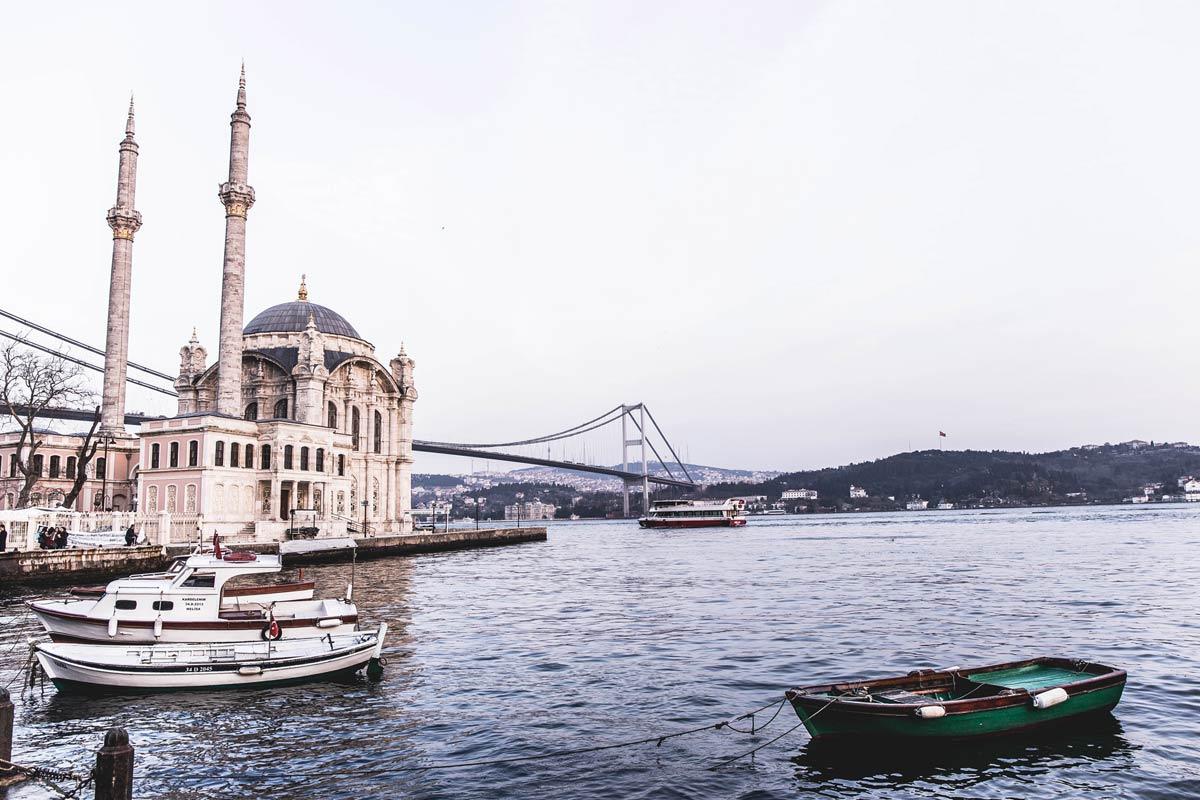 Blick auf die direkt am Bosporus gelegene Ortaköy Moschee.