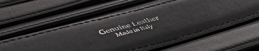 Black leather belt with genuine leather imprinted.