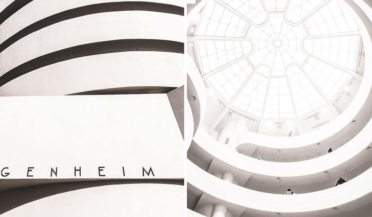 Fassade und Innenbereich des Guggenheim Museums in New York.