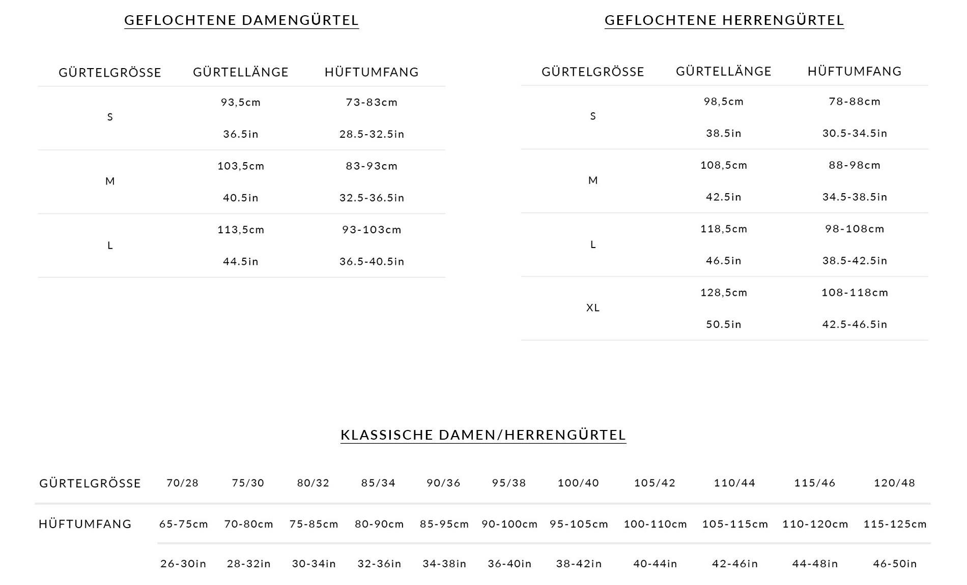 Klassische und Geflochtene Gürtel Größentabellen
