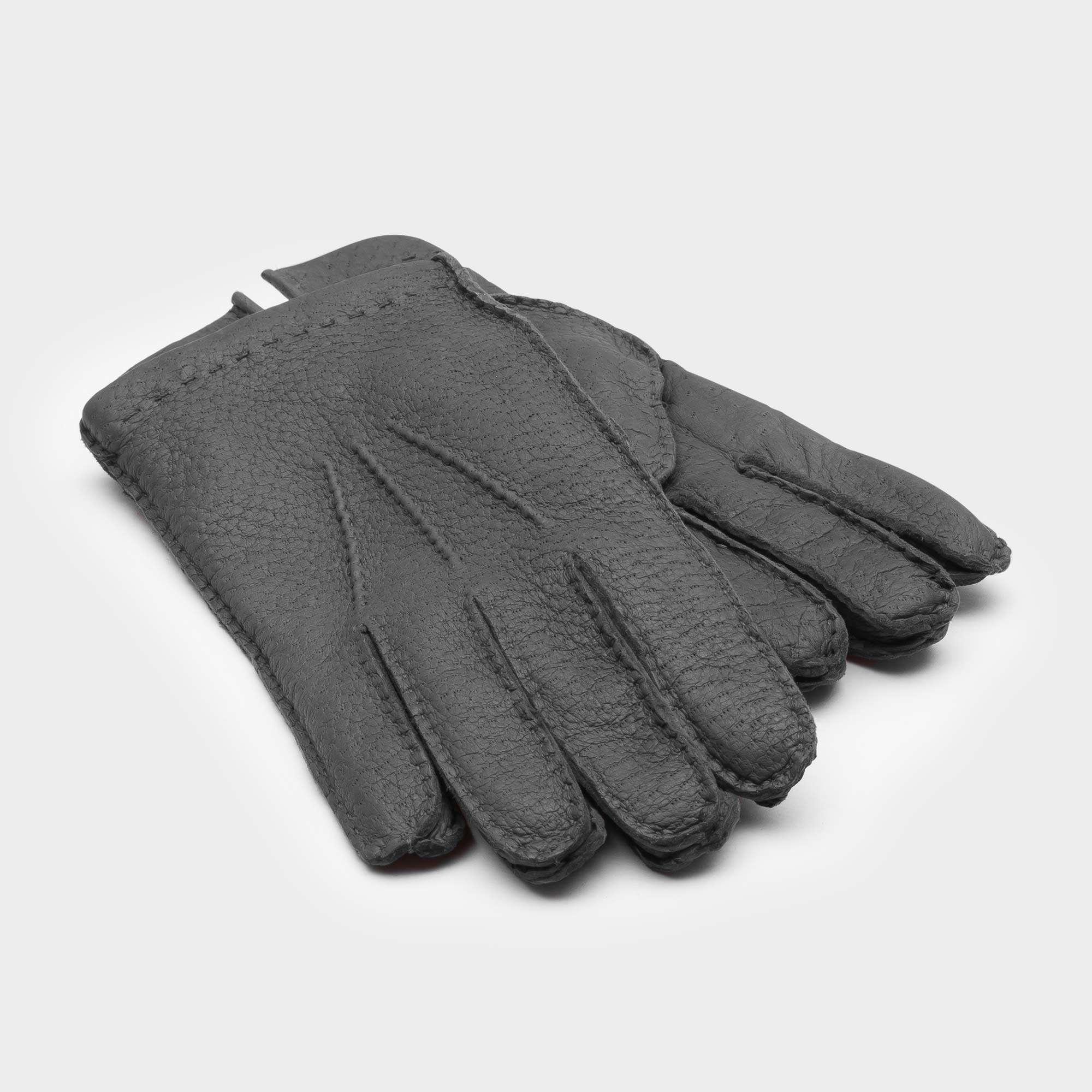 1b51185c5af453 Handgemachte Peccary Lederhandschuhe für Herren Grau – Salvatore   Dalgado