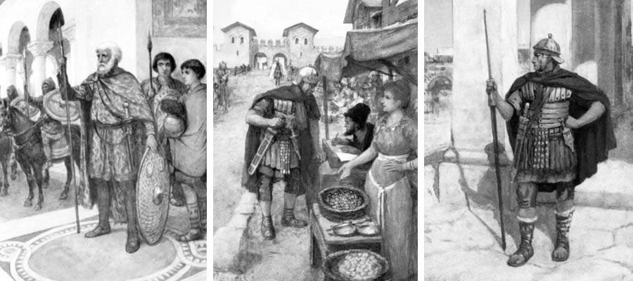 Drei Bilder, die römische Soldaten mit ihren Hüftgürteln zeigen