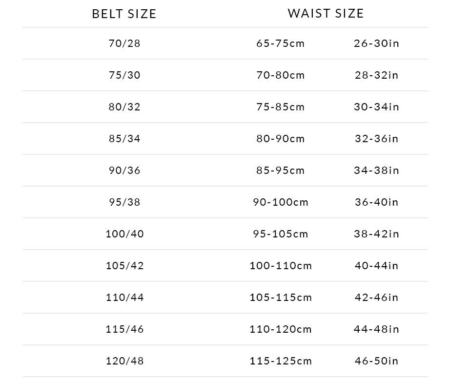 Sizing Chart Classic Belts