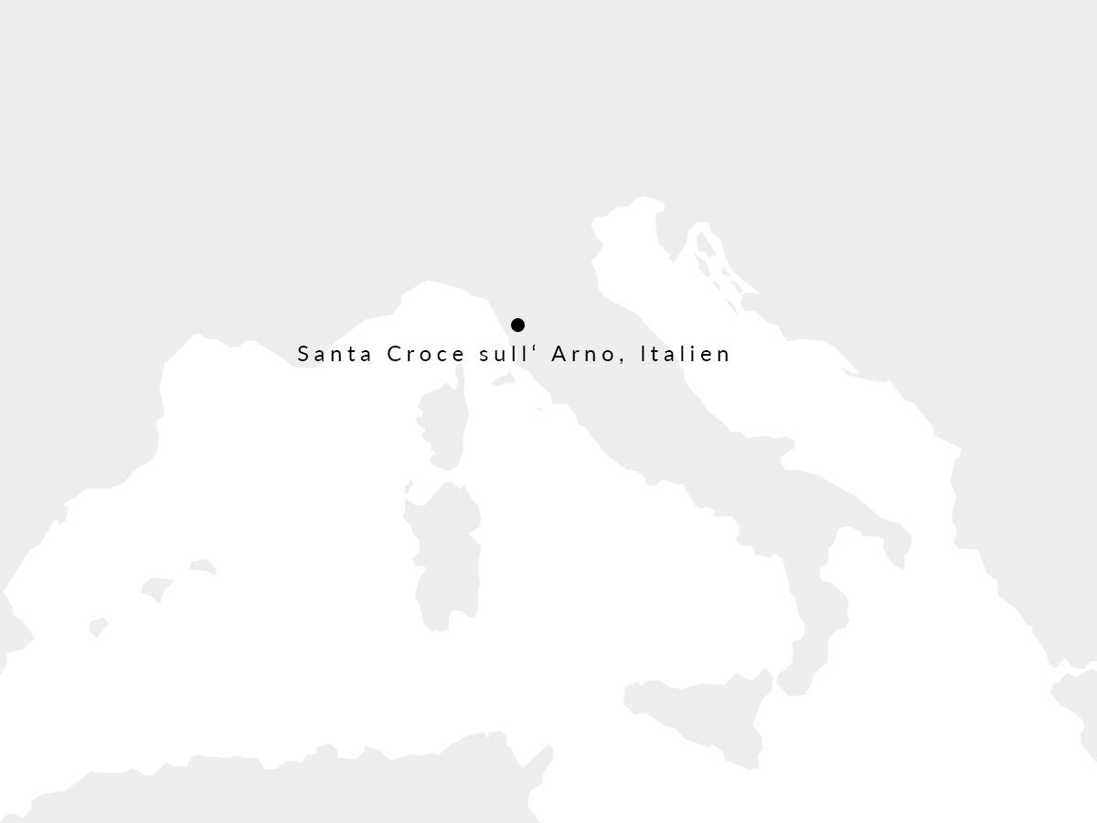 Karte auf der unsere italienischen Gerberei eingezeichnet ist.