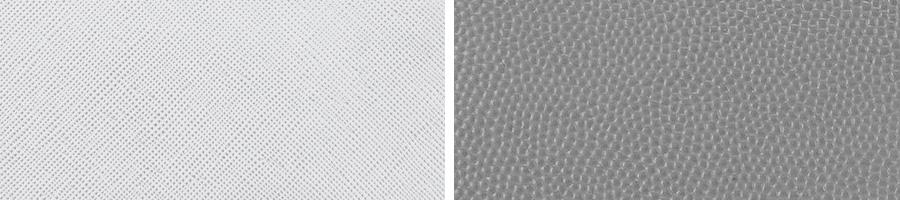 Vergleich zwischen Saffiano Leder und Palmellato Leder.