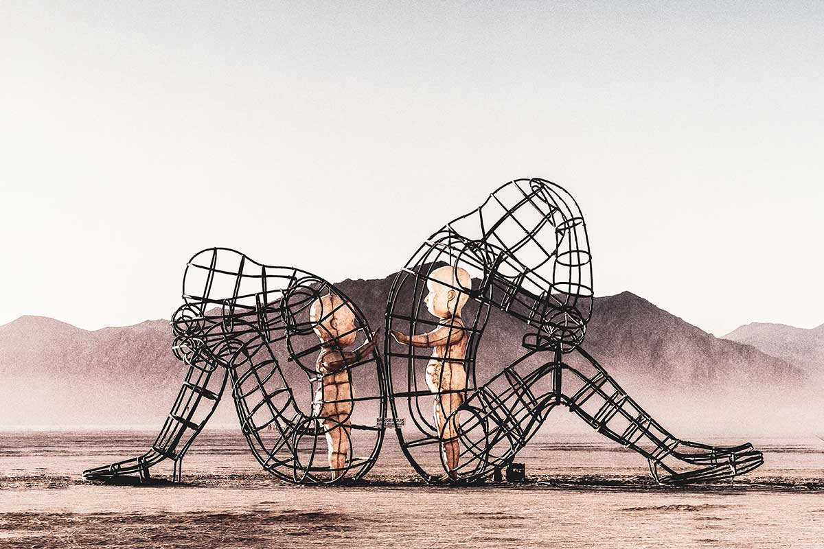 Kunstinstallation auf dem Burning Man Festival in Blackrock, Nevada.