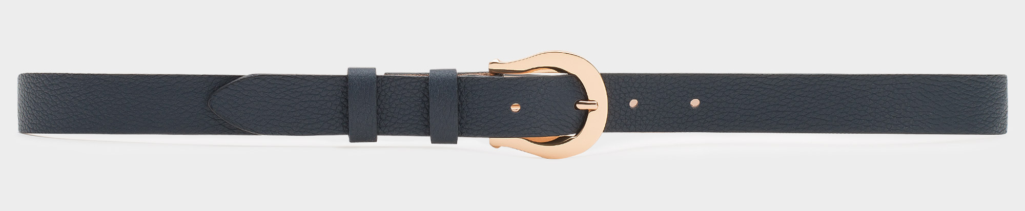 Classic women's leather belt blue with golden buckle