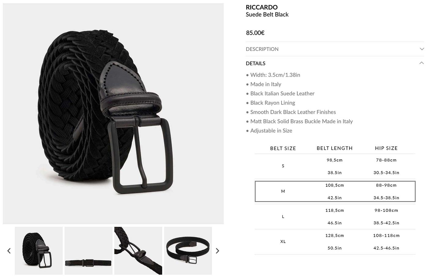 Riccardo Braided Belt - Sizing Example