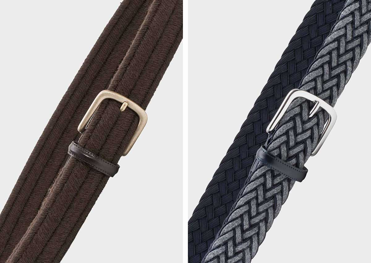 On the left our wool belt Rodolfo and on the right our braided wool belt Federico