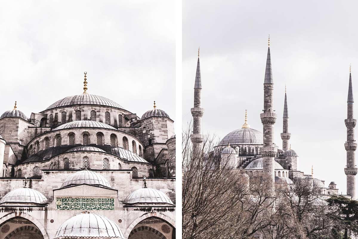 Blick auf die Blaue Moschee vom Mehmet Akif Ersoy Park in Istanbul, Türkei.